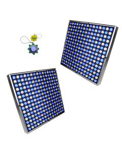 "HQRP 90W 450 LED Grow Light Panels White & Blue / Double 12"" Square Lamps for Growing Indoor Plants, Fruits, Flowers, Vegetables plus Hanging Kit + HQRP UV Meter"