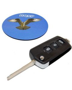 HQRP Folding Flip Key FOB Shell Remote Case w/ 4 Buttons compatible with KIA Forte 2009 09 plus HQRP Coaster