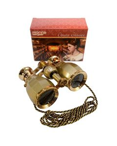 HQRP Opera Glasses Antique Style Golden with Golden Trim w/ Necklace Chain w/ Crystal Clear Optic (CCO)