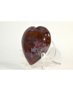 Reserved for MEREDITH - 63 x 60 mm Rare Red Moss Agate w/ Druzy Heart - India