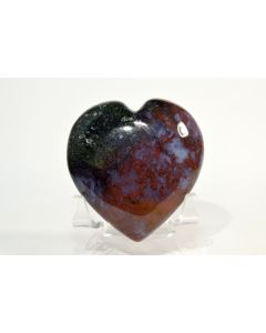 Reserved for MEREDITH - 63 x 60 x 22 mm Rare Red & Green Moss Agate Heart - India