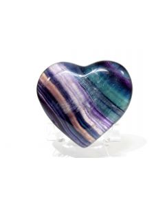 Reserved for MEREDITH - 71mm Multicolor Fluorite Heart - China + Stand