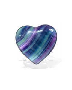 Reserved for MEREDITH - 64mm Multicolor Fluorite Heart - China + Stand