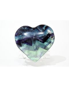 Reserved for MEREDITH - 69mm Multicolor Fluorite Heart - China + Stand