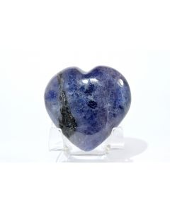 Reserved for MEREDITH - 48mm Rich Blue Iolite Heart - India + Plastic Stand