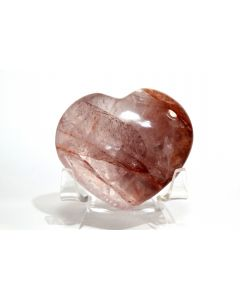 Reserved for MEREDITH - 60mm Red Fire Quartz Heart - Mdagascar + Acrylic Stand