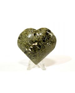"""Reserved for MEREDITH - 2.25"""" Green Epidote Druzy Crystal Carved into Heart Polished Stone Mineral Peru"""