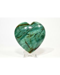 """Reserved for MEREDITH - 2.4"""" 115g Green Chrysoprase Crystal Mineral Heart - Brazil + Stand"""