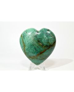 """Reserved for MEREDITH - 2.3"""" 115g Green Chrysoprase Crystal Mineral Heart - Brazil + Stand"""