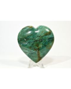 """Reserved for MEREDITH - 2.5"""" Green Chrysoprase Crystal Mineral Heart - Brazil + Stand"""