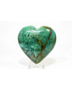 Reserved for MEREDITH - 60mm 120g Green Chrysoprase Crystal Mineral Heart - Brazil + Stand