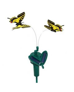 HQRP Twin Yellow Swallowtail Solar Powered Flying Butterflies for Patio Garden Decor + HQRP UV Meter