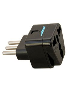 HQRP Black Grounded Universal Travel Plug Adapter for Italy / Chile / Ethiopia / Lybia / Syria / Tunisia / Uruguay
