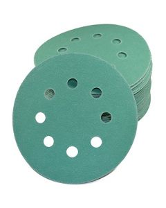"HQRP 5"" 8-Hole Dustless Hook & Loop Sanding Discs, Random Orbit Sandpaper 5-inch, 50 Pack, 10 Each of 5 Grits"