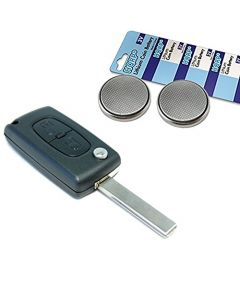 HQRP Transmitter and Two Batteries for Peugeot 107 206 207 306 307 308 406 407 408 Key-Fob Remote Shell Case Cover Smart Key FOB + Coaster