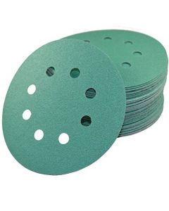 "HQRP 5"" 8-Hole 120-Grit Dustless Hook & Loop Sanding Discs, Random Orbit Sandpaper 5-inch, 50 Pack"