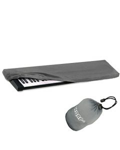 HQRP Elastic Dust Cover Case w/ Bag (Gray) for Korg LP-180 / SP-170 / SP-170s / SP-170SRD Electronic Keyboard Digital Piano + HQRP Coaster
