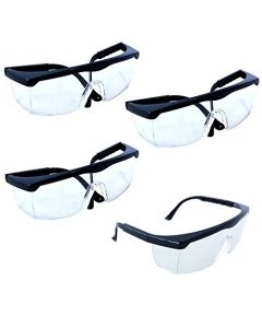 HQRP 4-pack Clear Lenses UV Protecting Safety Glasses / Goggles for Laboratory workers Chemistry Lab Science class + HQRP UV Meter