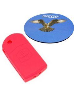 HQRP Protective Silicone Red Shell Case Cover compatible with Mazda 5, Mazda5, Mazda Premacy Advanced Smart Intelligent Car Key + HQRP Coaster