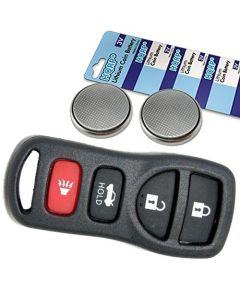 HQRP Transmitter and Two Batteries for Nissan Altima 2002 2003 2004 2005 2006 2007 05 06 07 02 03 04 Key-Fob Remote Shell Case Cover Smart Key Keyless FOB + Coaster