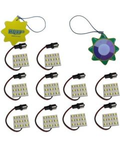 HQRP 10-Pack BA15s Bayonet Base 9 LEDs SMD 5050 LED Bulb Cool White for #1141 #1156 Lance Travel Trailer Interior Light Replacement + UV Meter