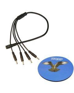 HQRP 1.35mm / 3.5mm 4 Way DC Splitter Cable Cord for Foscam IP Camera FI8918W FI8905W FI8608W FI9818W CCTV Camera plus HQRP Coaster