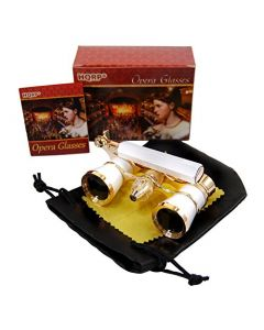 HQRP Opera Glasses White-Pearl with Gold Trim w/ Built-In Extendable Handle w/ Crystal Clear Optics (CCO) in HQRP Gift Box