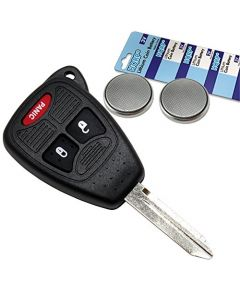 HQRP Transmitter and Two Batteries for Dodge Durango 04 05 06 07 08 2004 2005 2006 2007 2008 Key-Fob Remote Shell Case Cover Smart Key Keyless FOB + Coaster