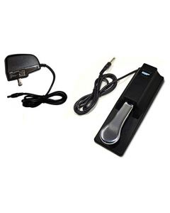 HQRP AC Adapter & Sustain Pedal for Casio CTK-2080 CTK-2200 CTK-2300 CTK-3200 LK-160 LK-165 LK-240 LK-280 XW-P1 XW-G1 WK-240 WK-240 LK-247 Keyboards