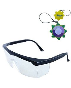 HQRP Clear Tint UV Protective Safety Goggles / Glasses for Yard work, Gardening, Lawn mowing, Weed whacking, Hedge trimming + HQRP UV Meter