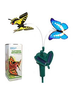 HQRP Multicolor Pair of Solar Powered Flying Fluttering Butterflies for Garden Plants Flowers + HQRP UV Chain (Yellow+Blue)