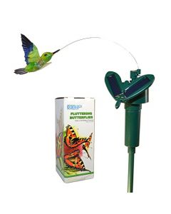 HQRP Solar Powered Flying Fluttering Hummingbird Colibri for Garden Plants Flowers Yard Stake Patio Landscape Outside Decor plus HQRP UV Meter