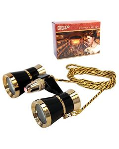 HQRP Theater Glasses Binoculars with Red Reading Light / Black with Gold Trim w/ Necklace Chain