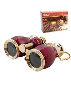 HQRP Theater Glasses Binoculars Antique Style w/ Crystal Clear Optic (CCO) Burgundy pearl with Gold Trim w/ Necklace Chain