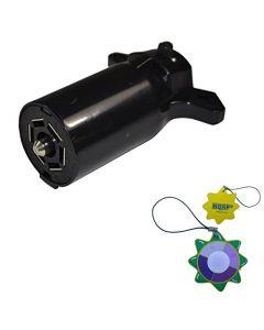 HQRP 7 Way Conn Round RV Blade Wiring Connector, Trailer End plus HQRP UV Meter