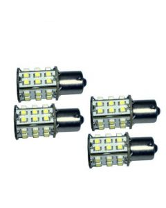 HQRP 4 pack BA15s Bayonet Base 30 LEDs SMD LED Bulb Cool White for #93 1141 1156 1073 1093 1129 Replacement plus HQRP Coaster