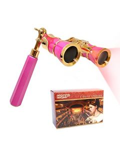 HQRP 3 x 25 Opera Glasses w/ Crystal Clear Optic (CCO), LED light, Extendable Handle / Pink-pearl with Gold Trim in HQRP Gift Box