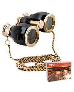HQRP Theater Glasses Binoculars Antique Style Black pearl with Gold Trim w/ Necklace Chain with Crystal Clear Optics (CCO)