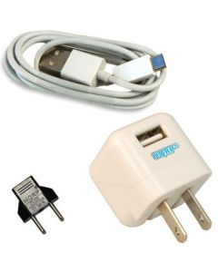 HQRP White USB Adapter w/ Charging Cable for Amazon Kindle Fire Kindle Fire HD 7