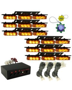 HQRP AMBER LED Emergency Warning Strobe Lights Bars for Deck Dash Grille 6 Panels 54 LEDs 12v DC plus HQRP UV Meter