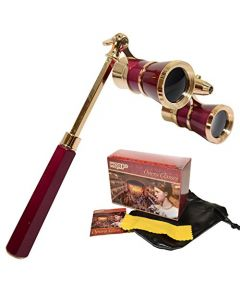 HQRP Opera Glasses / Binoculars w/ Crystal Clear Optic (CCO) 3 x 25 in Burgundy Color with Golden Trim, Built-In Extendable Handle and Red Reading Light in HQRP Gift Box