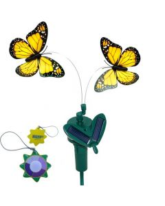 HQRP Twin Yellow Solar Powered Flying Fluttering Monarch Butterfly for Garden Plants Flowers plus HQRP UV Chain UV Health Meter