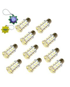 HQRP 10-Pack 3W 250 Lumen BA15s 18 LEDs Cool White Bulbs for #1141 #1156 Casita RV Interior / Porch Replacement DC plus HQRP UV Meter