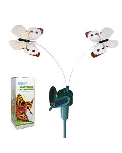 HQRP Twin Solar Butterfly Flying Fluttering Powered by Sun or AA Battery for Outdoor decor + HQRP UV Chain (White Cabbage)