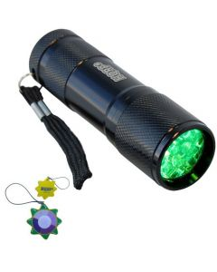 HQRP Green Light 9 LED Portable / Pocket Flashlight Black Aluminum Body for Night Walking / Hunting / Fishing / Scorpions Searching / Night Activity plus HQRP UV Meter