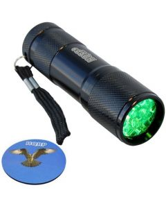 HQRP Powerful Green Light Flashlight with 9 LEDs for Night Hunting / Spot Rattlesnake plus HQRP Coaster