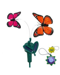 HQRP 2 Solar Powered Flying Fluttering Butterflies Orange Monarch and Pink Monarch for Garden Plants Flowers plus HQRP UV Chain / UV Health Meter