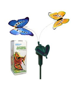 HQRP Multicolor Pair of Solar Powered Flying Fluttering Butterflies for Garden Plants Flowers + HQRP UV Chain (Blue+Yellow)