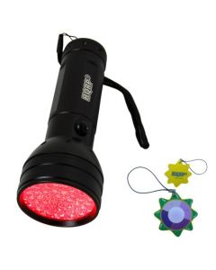 HQRP 51 LEDs Red Light LED Black Flashlight with a Large Coverage Area for Astronomy Aviation Night Vision plus HQRP UV Meter
