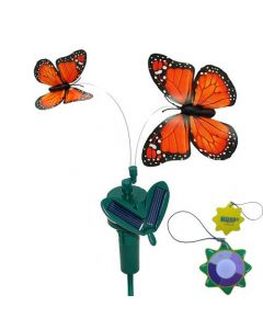 HQRP Twin Orange Solar Powered Flying Fluttering Monarch Butterflies for Garden Plants Flowers plus HQRP UV Meter